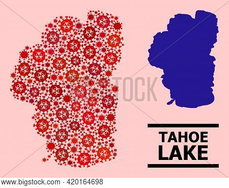 Vector Covid-2019 Mosaic Map Of Tahoe Lake Constructed For Pharmacy Illustrations. Red Mosaic Map Of