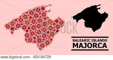 Vector Covid Mosaic Map Of Majorca Created For Vaccination Posters. Red Mosaic Map Of Majorca Is Con