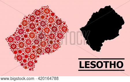 Vector Covid-2019 Mosaic Map Of Lesotho Done For Lockdown Wallpapers. Red Mosaic Map Of Lesotho Is D