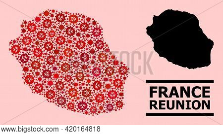 Vector Covid-2019 Collage Map Of Reunion Island Created For Lockdown Applications. Red Mosaic Map Of