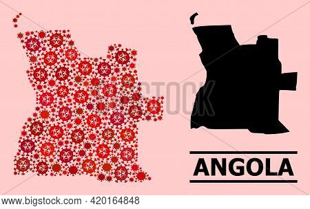 Vector Coronavirus Collage Map Of Angola Designed For Lockdown Purposes. Red Mosaic Map Of Angola Is