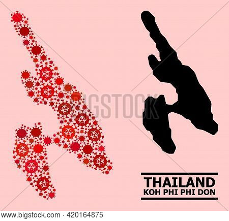 Vector Covid-2019 Composition Map Of Koh Phi Don Constructed For Pharmacy Illustrations. Red Mosaic