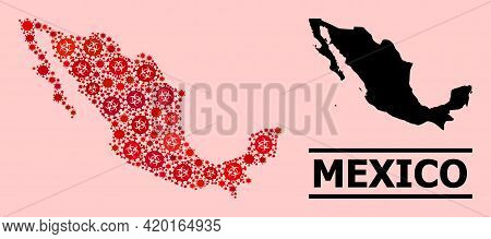 Vector Covid-2019 Composition Map Of Mexico Combined For Pandemic Purposes. Red Mosaic Map Of Mexico