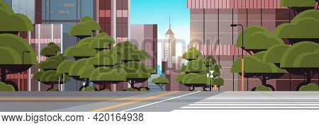 Road Empty Street With Crosswalk City Buildings Skyline Modern Architecture Cityscape Background Hor
