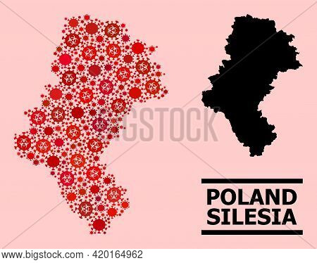 Vector Covid-2019 Mosaic Map Of Silesia Province Organized For Lockdown Posters. Red Mosaic Map Of S