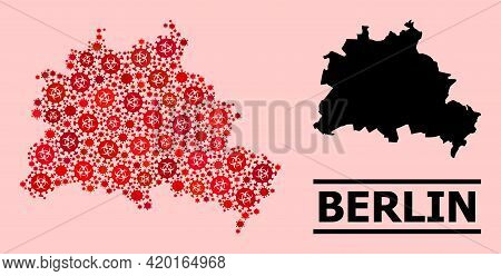 Vector Covid-2019 Mosaic Map Of Berlin City Created For Lockdown Illustrations. Red Mosaic Map Of Be