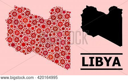 Vector Covid Mosaic Map Of Libya Combined For Pharmacy Projects. Red Mosaic Map Of Libya Is Designed