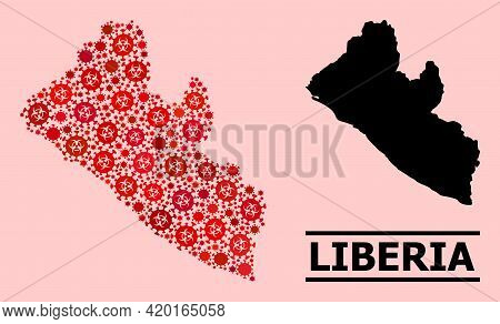 Vector Covid Mosaic Map Of Liberia Constructed For Vaccination Posters. Red Mosaic Map Of Liberia Is