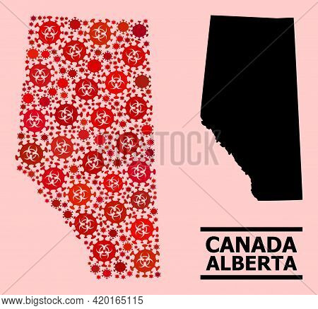 Vector Covid-2019 Composition Map Of Alberta Province Organized For Hospital Posters. Red Mosaic Map