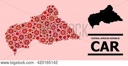Vector Coronavirus Mosaic Map Of Central African Republic Combined For Medicare Wallpapers. Red Mosa