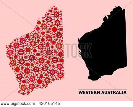 Vector Covid-2019 Composition Map Of Western Australia Combined For Vaccination Posters. Red Mosaic