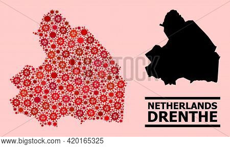 Vector Covid-2019 Mosaic Map Of Drenthe Province Created For Hospital Wallpapers. Red Mosaic Map Of