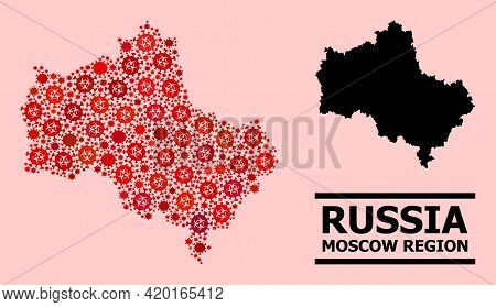 Vector Coronavirus Mosaic Map Of Moscow Region Designed For Clinic Applications. Red Mosaic Map Of M