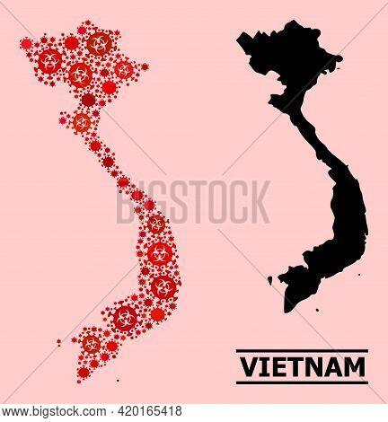 Vector Covid Mosaic Map Of Vietnam Organized For Clinic Posters. Red Mosaic Map Of Vietnam Is Constr