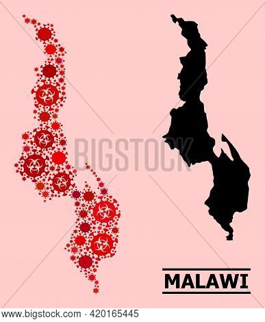Vector Covid-2019 Mosaic Map Of Malawi Designed For Pharmacy Illustrations. Red Mosaic Map Of Malawi