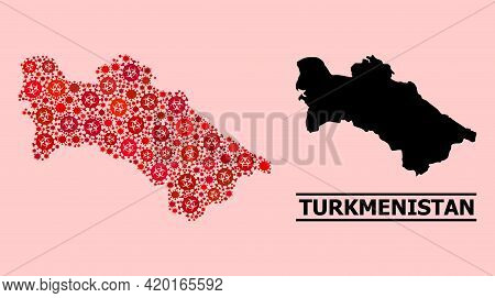 Vector Covid-2019 Composition Map Of Turkmenistan Created For Pharmacy Wallpapers. Red Mosaic Map Of