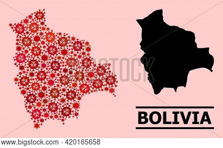 Vector Covid Mosaic Map Of Bolivia Organized For Doctor Advertisement. Red Mosaic Map Of Bolivia Is