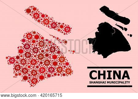 Vector Covid-2019 Composition Map Of Shanghai Municipality Created For Clinic Advertisement. Red Mos