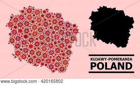 Vector Covid Mosaic Map Of Kujawy-pomerania Province Designed For Pharmacy Posters. Red Mosaic Map O