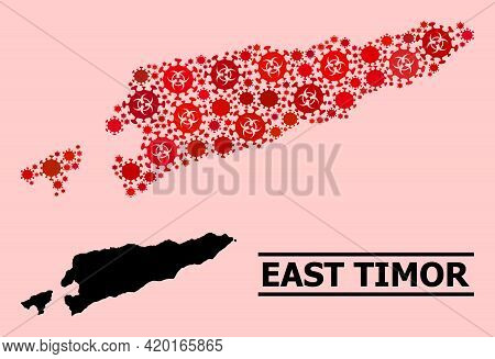 Vector Covid-2019 Collage Map Of East Timor Organized For Doctor Illustrations. Red Mosaic Map Of Ea