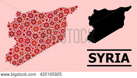 Vector Covid-2019 Mosaic Map Of Syria Constructed For Clinic Posters. Red Mosaic Map Of Syria Is For