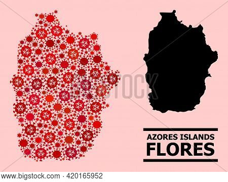 Vector Covid-2019 Collage Map Of Azores - Flores Island Combined For Vaccination Wallpapers. Red Mos