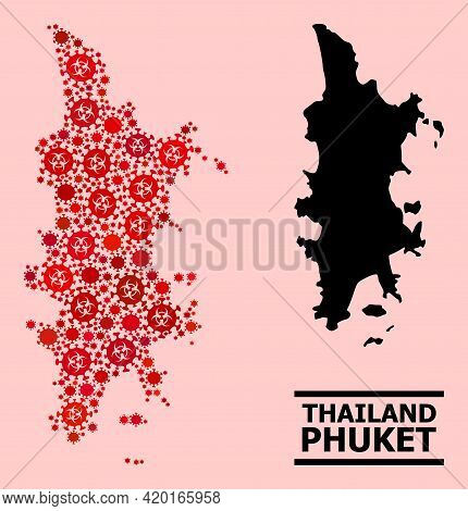 Vector Covid-2019 Mosaic Map Of Phuket Created For Doctor Applications. Red Mosaic Map Of Phuket Is