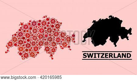 Vector Covid-2019 Mosaic Map Of Switzerland Organized For Medicare Illustrations. Red Mosaic Map Of