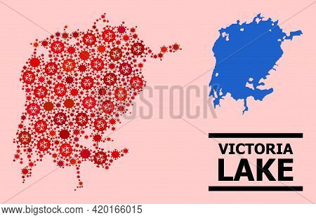 Vector Covid-2019 Mosaic Map Of Victoria Lake Organized For Health Care Posters. Red Mosaic Map Of V