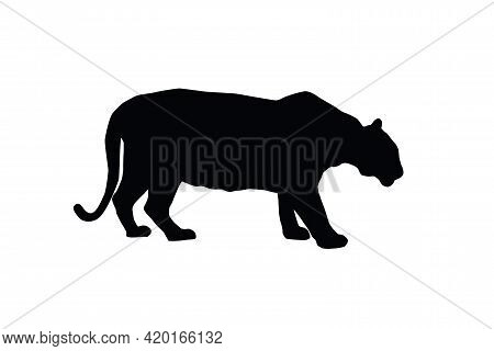 Tiger Vector Silhouette Illustration Isolated On White Background. Big Wild Cat. Bengal Tiger. Tatoo