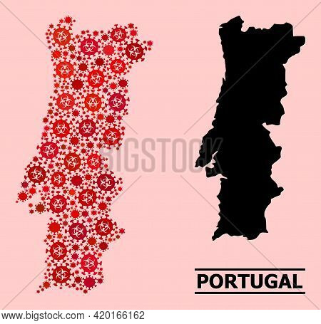 Vector Covid-2019 Mosaic Map Of Portugal Done For Medicare Purposes. Red Mosaic Map Of Portugal Is D