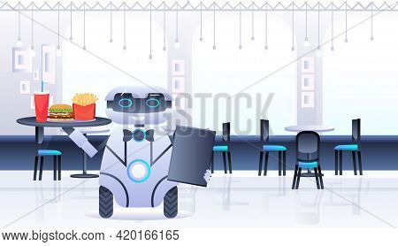 Humanoid Robot Waiter Carries Tray With Food And Drinks In Restaurant Artificial Intelligence Techno