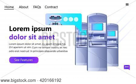 Atm Money Automatic Teller Machine Payment Terminals With Chatbot Robot Artificial Intelligence Tech