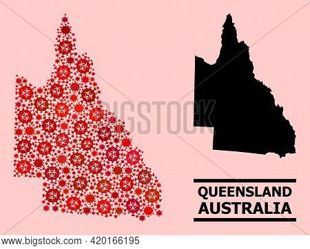 Vector Covid-2019 Collage Map Of Australian Queensland Done For Hospital Projects. Red Mosaic Map Of