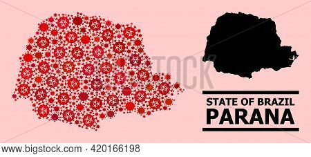 Vector Covid-2019 Mosaic Map Of Parana State Combined For Lockdown Projects. Red Mosaic Map Of Paran