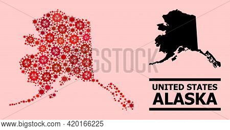 Vector Covid-2019 Collage Map Of Alaska State Designed For Pharmacy Applications. Red Mosaic Map Of