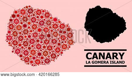 Vector Covid-2019 Mosaic Map Of La Gomera Island Designed For Medicare Applications. Red Mosaic Map