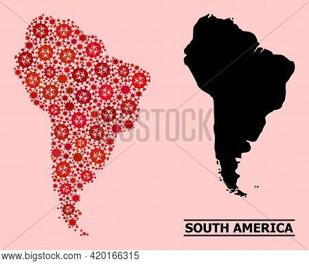 Vector Covid-2019 Mosaic Map Of South America Organized For Pharmacy Illustrations. Red Mosaic Map O