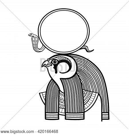 Animation Linear Portrait Ancient Egyptian God Ra. Deity Of Sun With Head Of A Bird. Profile View. V