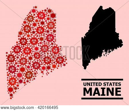 Vector Covid Mosaic Map Of Maine State Combined For Pharmacy Projects. Red Mosaic Map Of Maine State