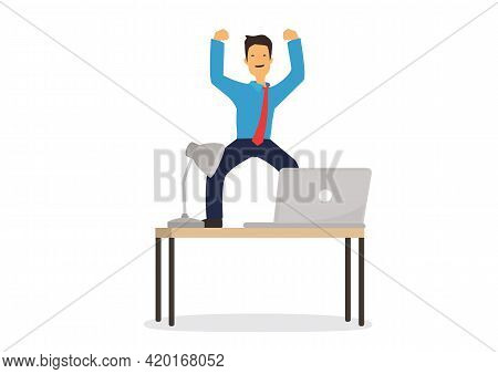 Smiling Businessman Jumping For Joy On His Office Desk With A Laptop. Happy Employee No Stress After