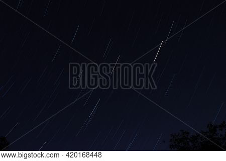 Long Exposure Picture Of Stars Moving In Circular Motion