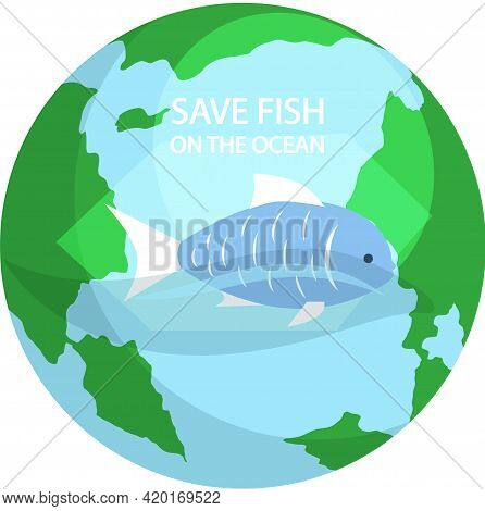 Blue Sea Fish On Background Of Planet. Eco Friendly Nature Conservation, Ocean Protection. Represent