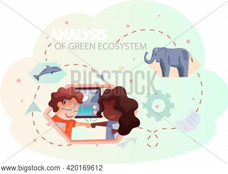 Nature And Ecology Modern Graphic Design Poster. People Are Analyzing Green Ecosystem Of Planet. Tea