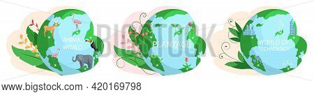 Set Of Illustrations About Earth Animal World, Plantage, Technology. Biodiversity, Conservation Of N