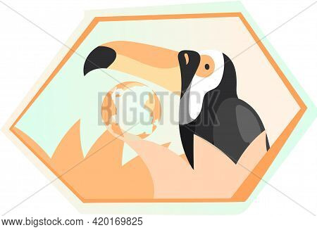 Toucan On Framed Illustration With Plants On Background. Eco Friendly, Nature Conservation, Environm