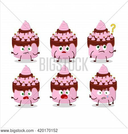 Cartoon Character Of Sweety Cake Strawberry With What Expression