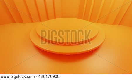 3d Rendering Orange Background Blank Studio For Merchandise Display With Banner Background Copy Spac