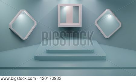 3d Rendering Pastel Blue Empty Studio Background For Merchandise Display With Copy Space Banner Back