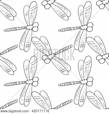 Dragonfly Seamless Pattern. Hand Drawn Doodle Style. Vector, Minimalism, Monochrome, Sketch. Insect,